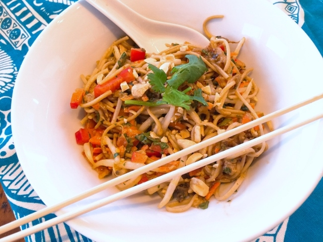 Thai Peanut Chicken, Noodle & Eggplant Salad – Recipe! Image 1