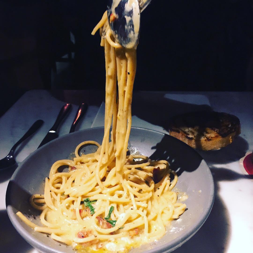 Carbonara larosecafe  most delightful! livelovelaughfood santamonicadining pasta