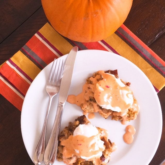 Turkey-Day Dressing Eggs Benedict with Cranberry Chipotle Hollandaise – Recipe! Image 1