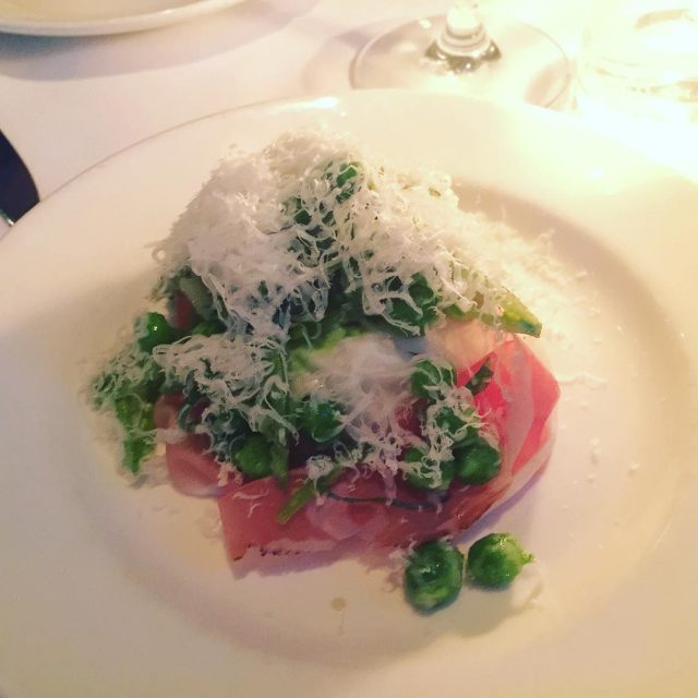 Burrata with fresh Peas amp Speck  Mozza Osteria Loshellip