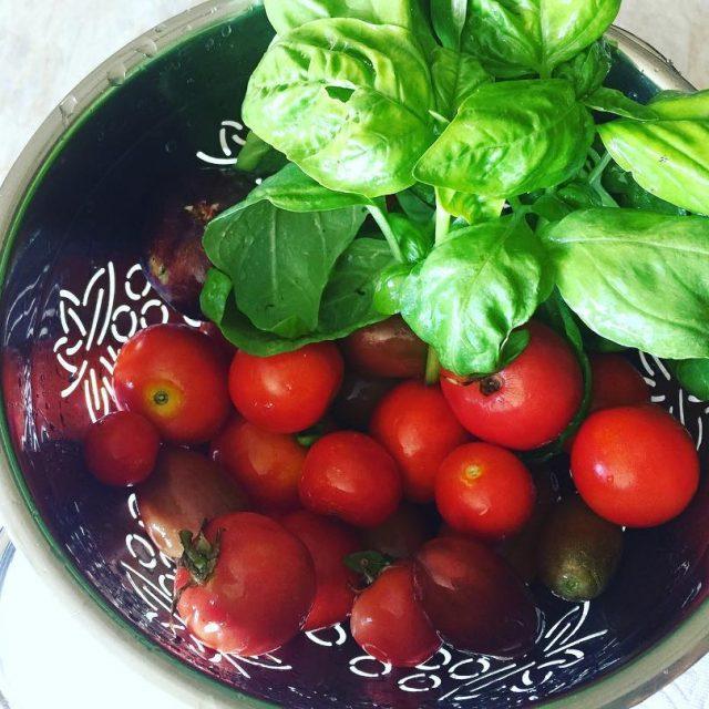 Homegrown Goodness! Summers Best!! livelovelaughfood tomatoes basil summerfruit salads nocookmealshellip