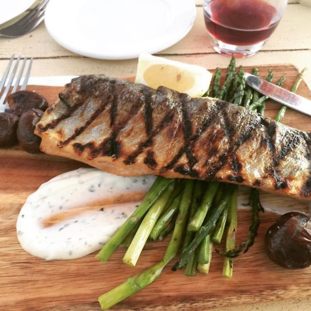 Grilled Trout amp Asparagus backonthebeachcafe Santa Monica! livelovelaughfood beach santamonicabeachhellip