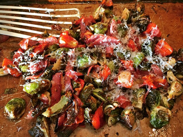 Sheetpan Roasted Brussels Sprouts with Salami and Cherry Tomatoes! Recipehellip