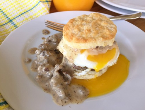 Turkey Sausage Gravy & Egg Biscuit Sandwiches – Recipe!