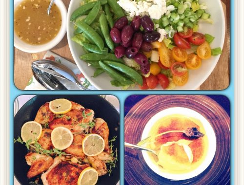 Social Sundays — Roasted Lemon Garlic Chicken, Spring Greek Salad and Lavender Creme Brulee!