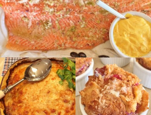 Social Sundays – Slow Roasted Marinated Salmon, Thyme Infused Scalloped Potatoes, and Petite Raspberry Bread Puddings!