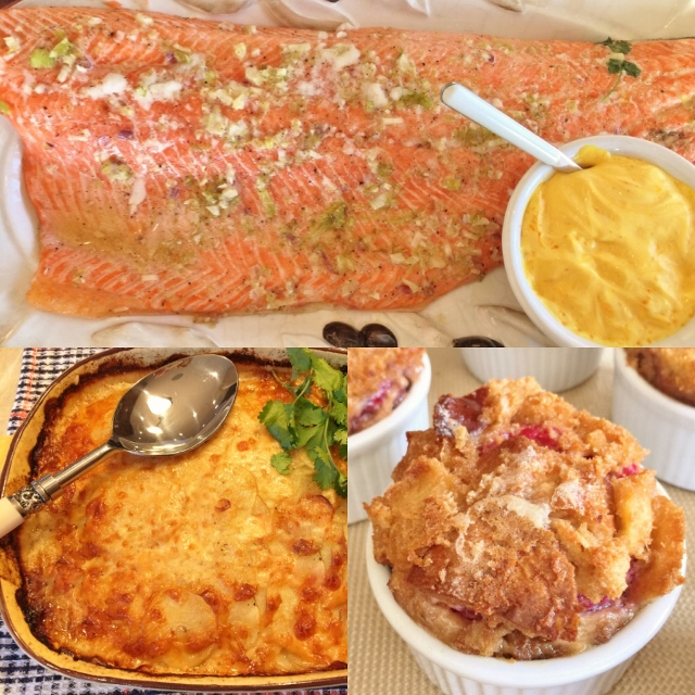 Social Sundays – Slow Roasted Marinated Salmon, Thyme Infused Scalloped Potatoes, and Petite Raspberry Bread Puddings! Image 1