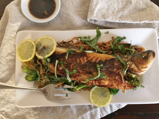 Social Sundays – Wok-Seared Whole Sea Bass with Ginger Broccoli Soba Noodles, and Coconut Almond Rice Pudding! Image 7