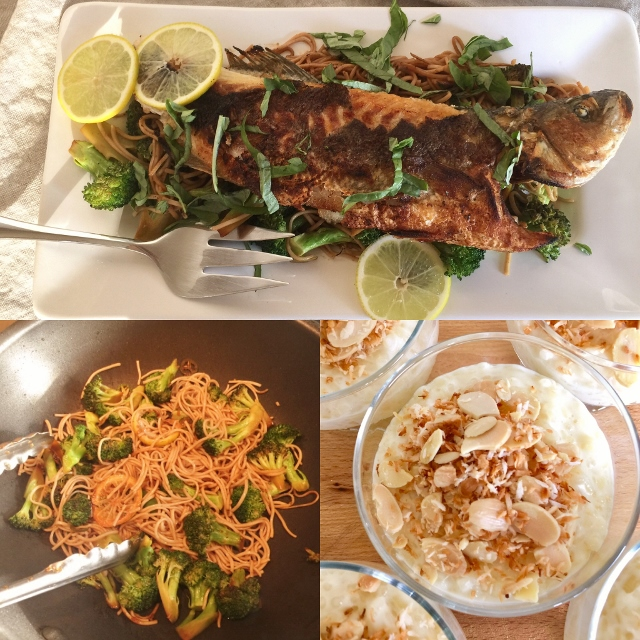 Social Sundays – Wok-Seared Whole Sea Bass with Ginger Broccoli Soba Noodles, and Coconut Almond Rice Pudding! Image 1