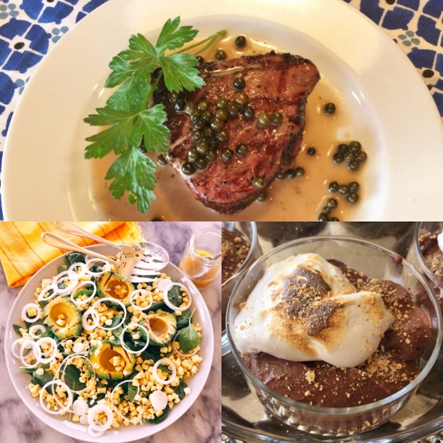 Social Sundays – Grilled Filet Mignon with Green Peppercorn Sauce, Grilled Avocado & Sweet Corn Salad, and Dark Chocolate S'more Pudding! Image 1