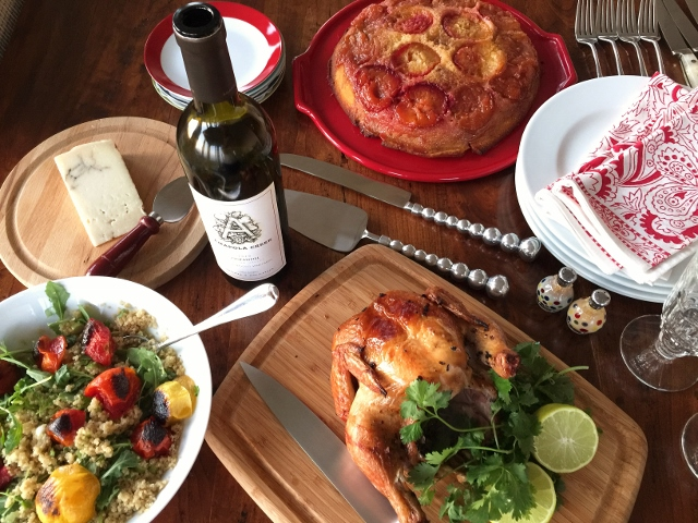 Social Sundays Menu – Grilled Tea Infused Chicken, Charred Tomato & Quinoa Salad, and Plum Cornmeal Cake! Image 1