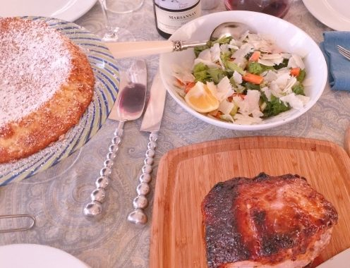 Social Sundays – Pork Loin with Peachy Mustard Glaze, Carrot & Celery Salad, and Lemon Almond Flourless Cake!