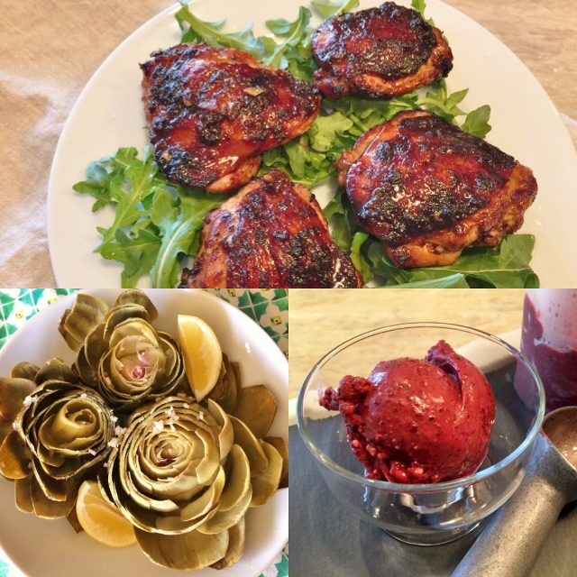Social Sundays – Grilled Spicy Asian Chicken Thighs, Chilled Artichokes in Shallot Vinaigrette, and Easy No-Churn Dark Cherry Ice Cream! Image 1