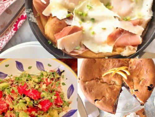 Social Sundays Brunch – Savory German Pancake, Avocado & Tomato Salad, and Blueberry Orange Breakfast Cake!