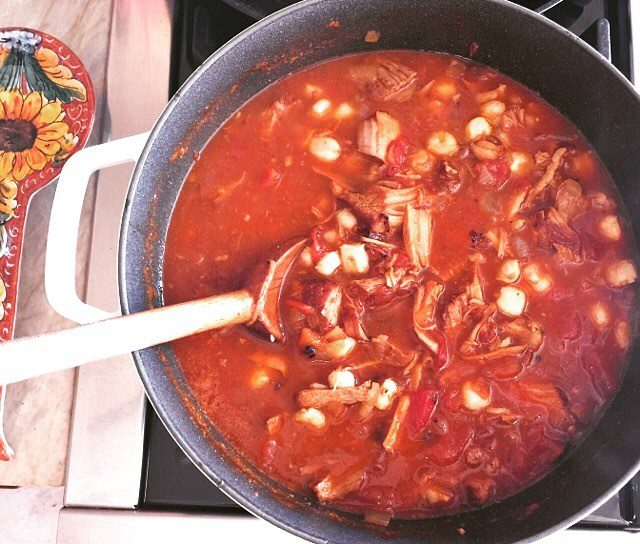 Smoky Pork Pozole! Hearty Mexican stew made with pork chileshellip