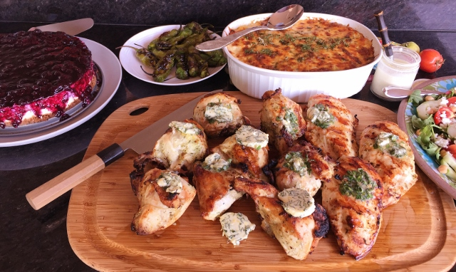 Social Sundays – Grilled Chicken with Lemon Basil Compound Butter, Green Chile Polenta Bake, and Lemon Blueberry Cheesecake! Image 1