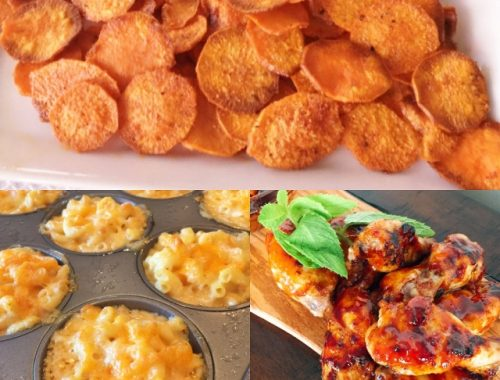 Social Sundays, Game Day Appetizers – Smoky Baked Sweet Potato Chips, Buffalo Macaroni & Cheese Cups, and Grilled Korean Hot Wings!