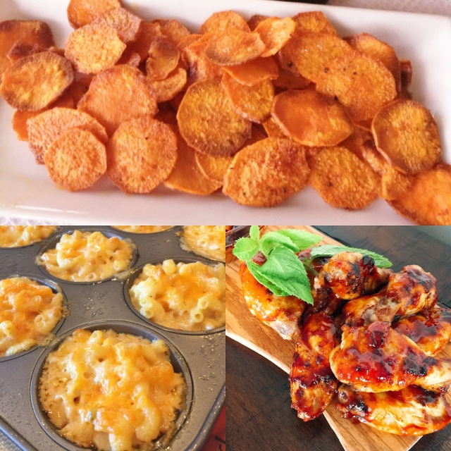 Social Sundays, Game Day Appetizers – Smoky Baked Sweet Potato Chips, Buffalo Macaroni & Cheese Cups, and Grilled Korean Hot Wings! Image 1