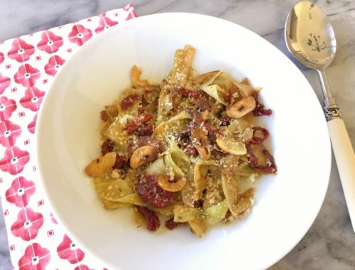 Broccoli Pappardelle with Sun Dried Tomatoes & Toasted Garlic – Recipe!