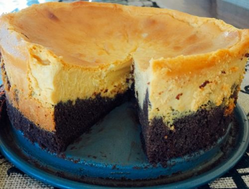 Pumpkin Cheesecake with Brownie Crust – Recipe! (Video Included)