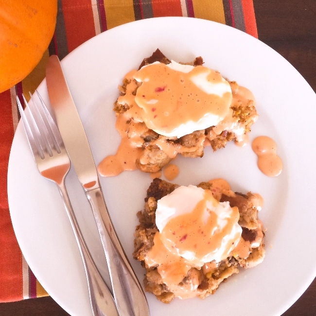 Turkey-Day Dressing Eggs Benedict with Cranberry Chipotle Hollandaise – Recipe! Image 2