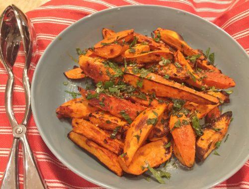 Roasted Harissa Sweet Potatoes – Recipe!