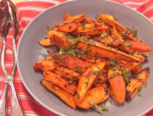 Roasted Harissa Sweet Potato Wedges – Recipe!