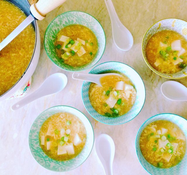 Egg Drop Soup with Soft Tofu! Nothing like a steamyhellip