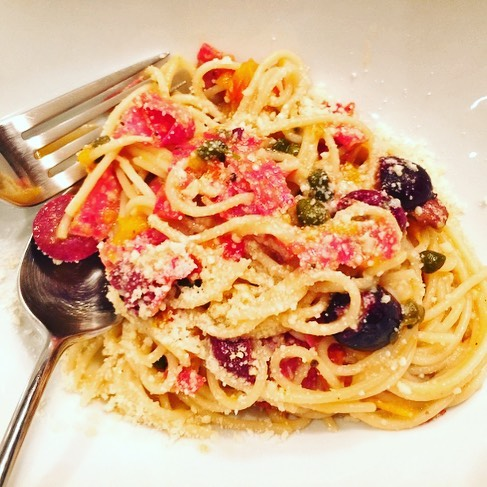 Pasta Night! Puttanesca with Salami  Yeah! Recipe on blog!hellip