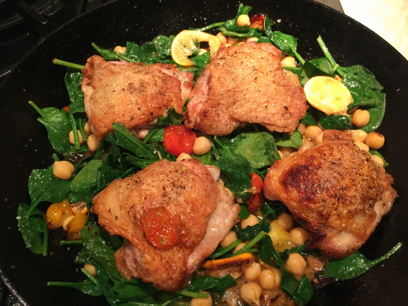 Skillet Chicken with Lemons, Spinach & Chickpeas – Recipe! Image 2