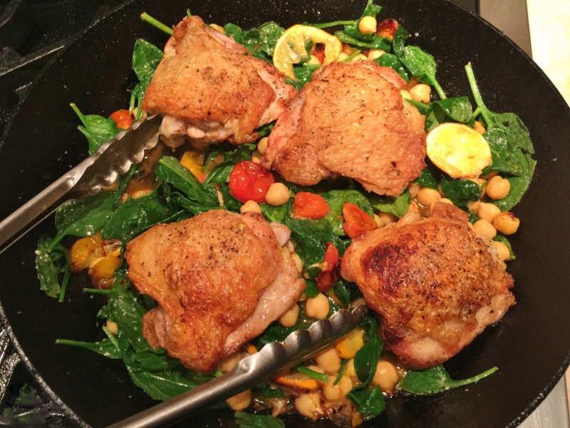 Skillet Chicken with Lemons, Spinach & Chickpeas – Recipe! Image 1