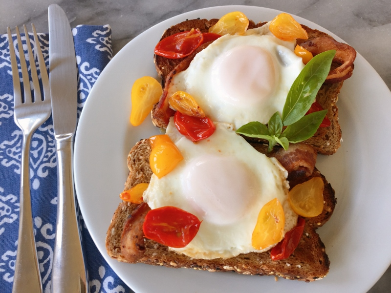 Warm Cherry Tomato, Bacon & Egg Toasts – Recipe! Image 2
