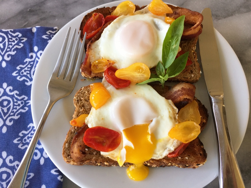 Warm Cherry Tomato, Bacon & Egg Toasts – Recipe! Image 1