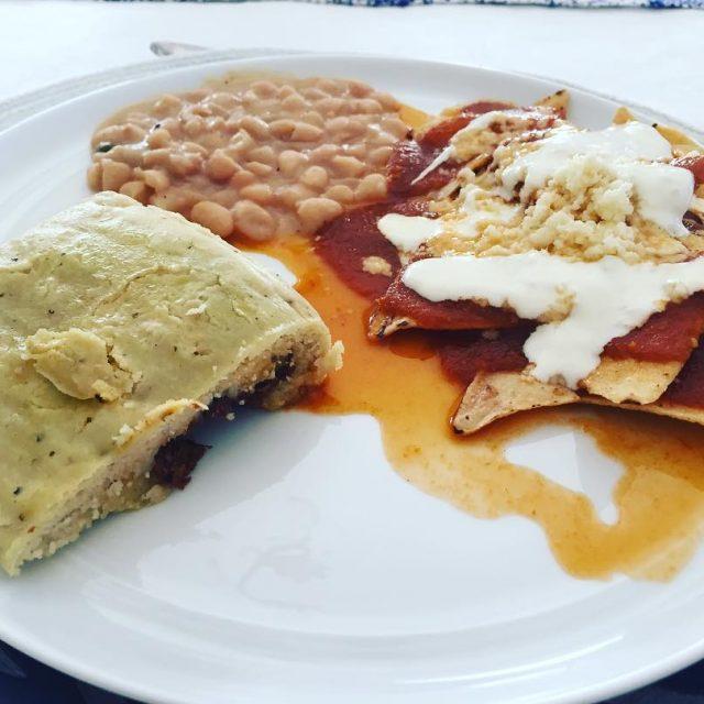 Chilaquiles Deer Tamale amp Beans! Breakfast at the Garcias Casahellip