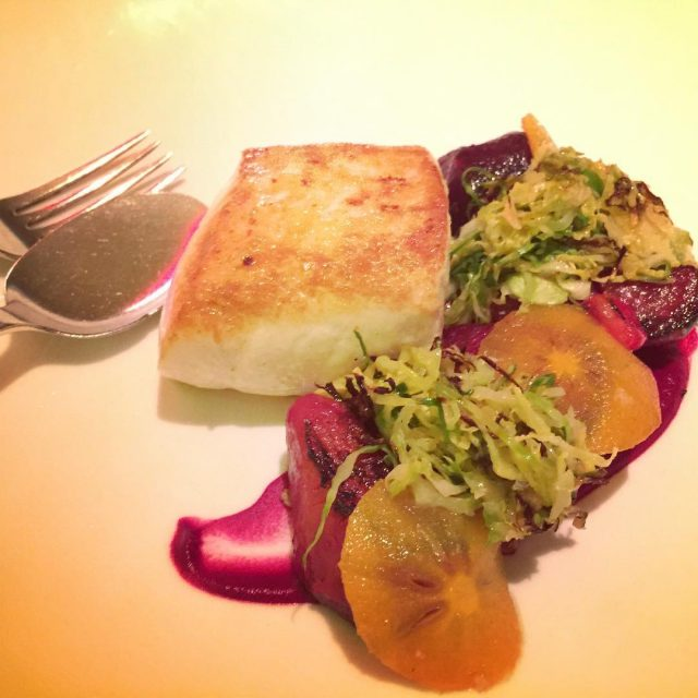Seared Halibut with Shaved Brussels Sprouts with Oats and Roastedhellip