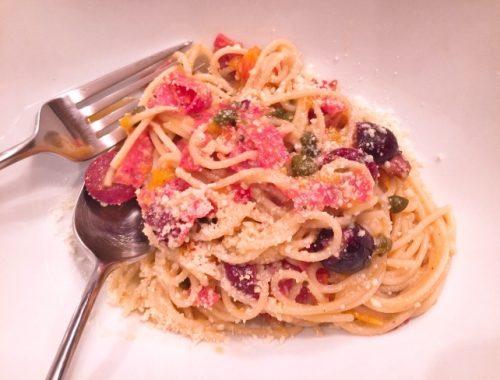 Pasta Puttanesca with Salami – Recipe!