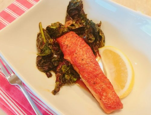 Wok Caramel Salmon with Bitter Greens – Recipe!