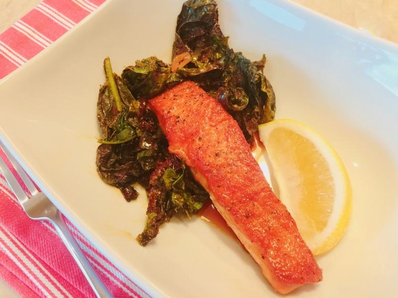Wok Caramel Salmon with Bitter Greens – Recipe! Image 1