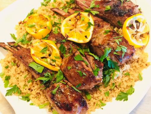 Marinated Grilled Lamb Chops with Pine Nut Couscous – Recipe!