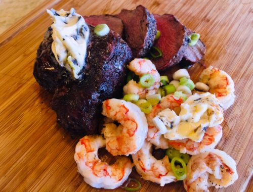 Grilled Fillet Mignon & Shrimp with Charred Scallion Butter – Recipe!