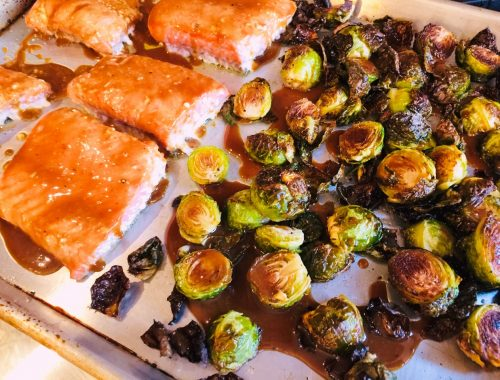 Sheet Pan Honey Mustard Salmon & Brussels Sprouts – Recipe!