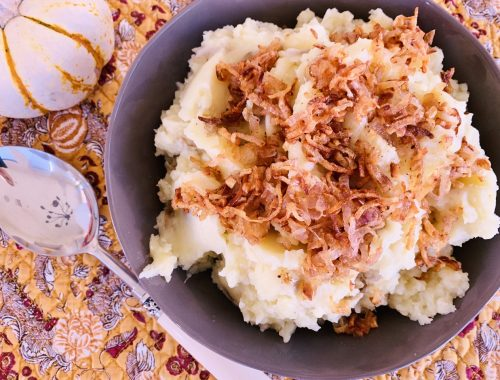 Rustic Mashed Potatoes with Frizzled Shallots – Recipe!