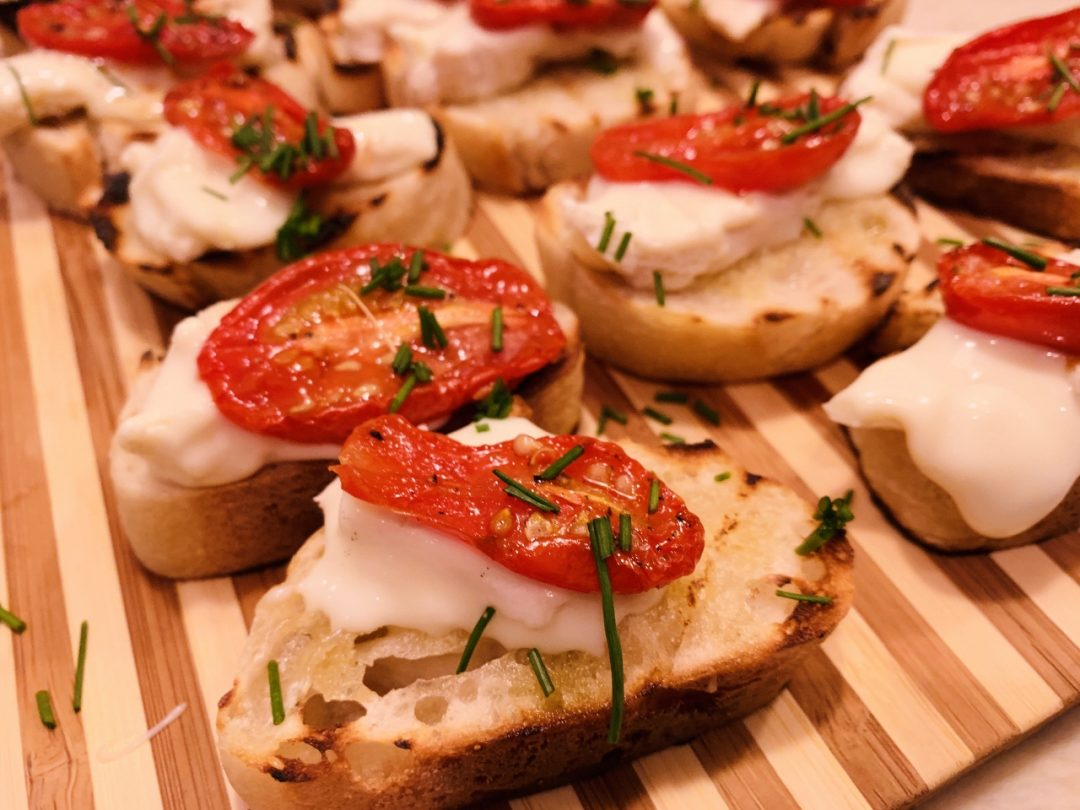 Roasted Cherry Tomato & Robiola Crostini – Recipe! Image 1
