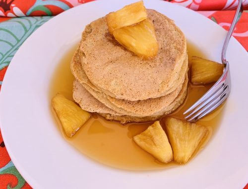 Chai Protein Pancakes with Pinapple Syrup – Recipe!
