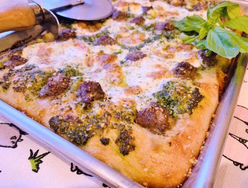 Sheet Pan Pesto Sausage Pizza – Recipe!