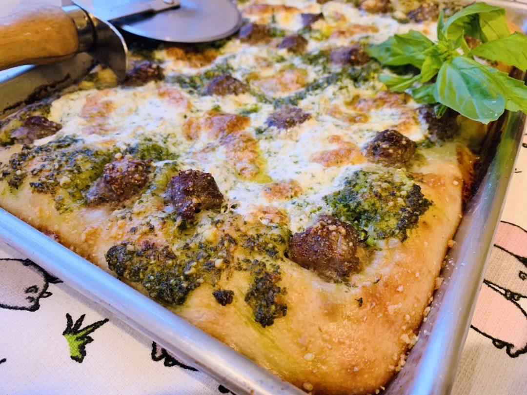 Sheet Pan Pesto Sausage Pizza – Recipe! Image 1
