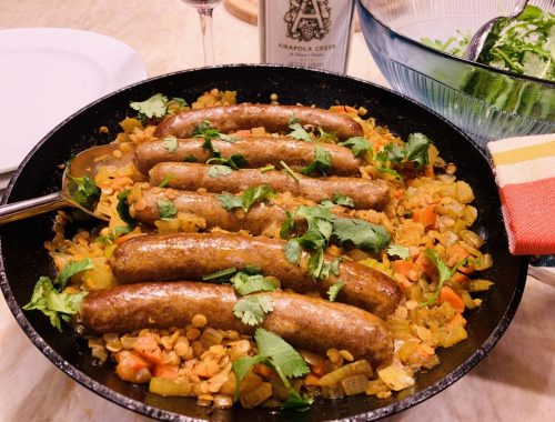 Skillet Lamb Sausage with Red Curried Lentils – Recipe!