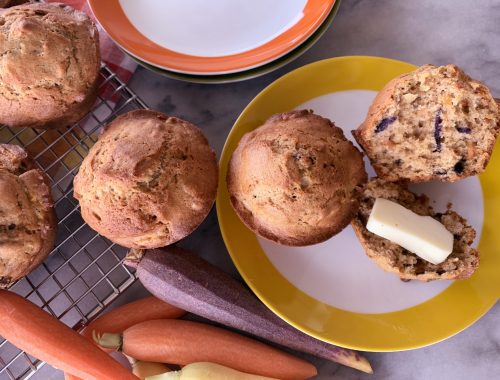 Rainbow Carrot Walnut Muffins – Recipe!