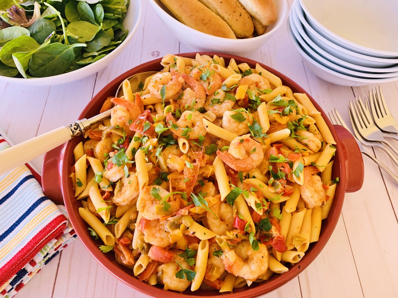 Creamy Tomato Shrimp & Sweet Pepper Penne – Recipe! Image 2