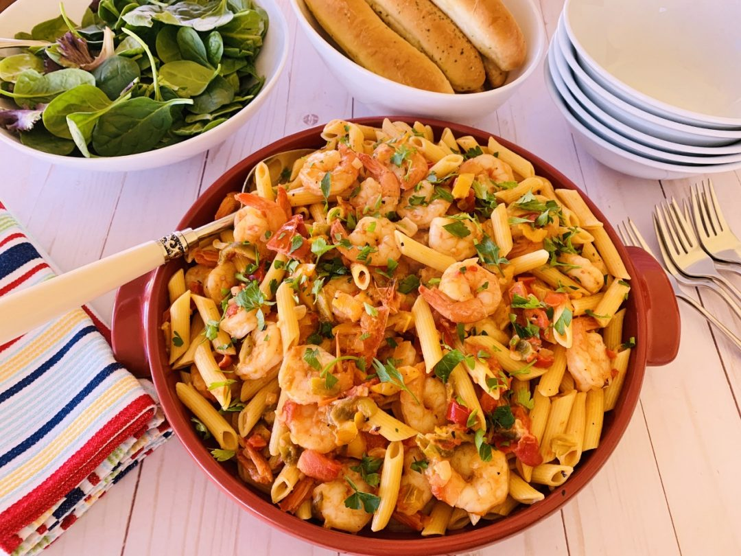 Creamy Tomato Shrimp & Sweet Pepper Penne – Recipe! Image 1